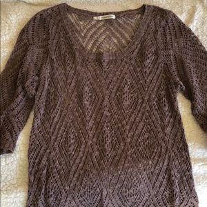 Muted purple open knit sweater